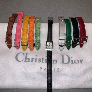 Authentic Dior watch set lizard and leather band